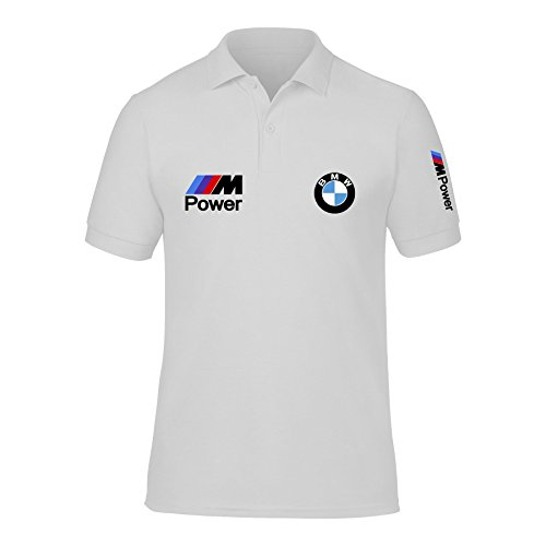 New Men's BMW Power Logo M Sport High Quality Polo Neck T Shirts UK Size S-XXL (Large) White