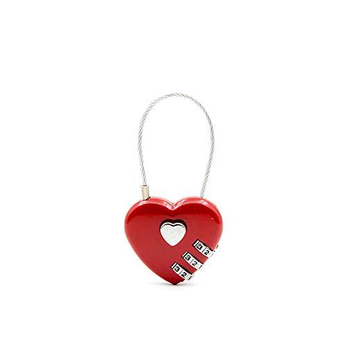 3-stelliges Zahlenschloss (Demarkt 3 Stelliges Zahlenschloss Kombinationsschloss Vorhängeschloss Herz Form Schloss für Gepäck Schließfach Rot)