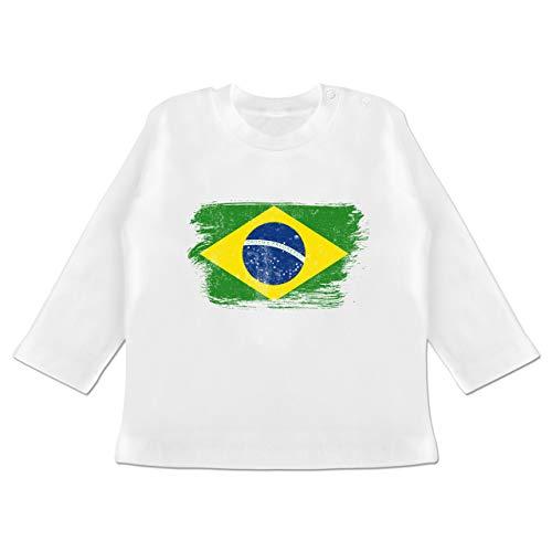 Fußball-Europameisterschaft 2020 - Baby - Brasilien Vintage - 3-6 Monate - Weiß - BZ11 - Baby T-Shirt Langarm (Brasilien-flag Shirt)