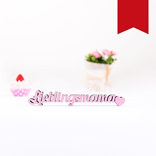 """Kleinlaut 3D-Schriftzug """"Lieblingsmama"""" in Größe: 10 x 1,6 cm - Dekobuchstaben - 32 Farben zur Wahl - Rot"""