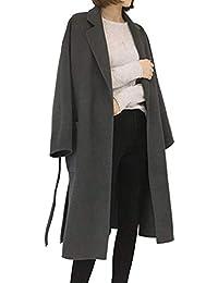 Donna Invernale Risvolto Cappotto Lungo Cappotti Trench Giacca con Cintura  Tinta Unita fbe6bb3319b