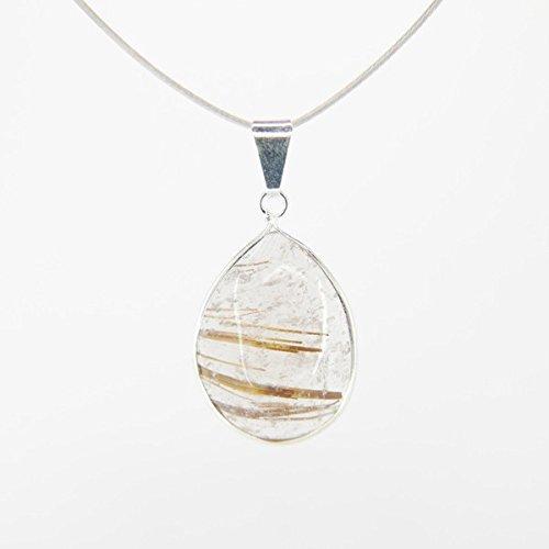 Mineral import ciondolo lacrima in quarzo rutilato, montatura in argento sterling