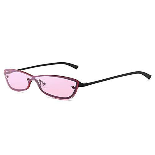 Kleine Rosa Farbton (Sonnenbrille,Fashion Square Randlose Sonnenbrille Frauen Hochwertige Uv400 Lens Sonnenbrille Damen Sommer Reisen Schutzbrille Kleine Farbtöne Schwarz Rosa)