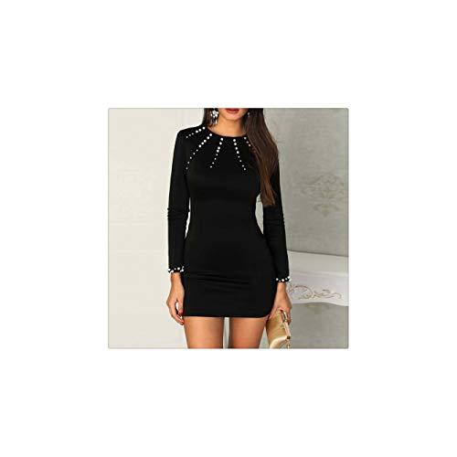 GELORT& 2019 Elegant Sexy Women Beaded Long Sleeve Bodycon Dress Pullover Ladies Party Cocktail Mini Dress New BK M -