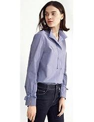 Mujeres de camisa de rayas verticales de Spring de proa camisa de puño ,S,Azul claro