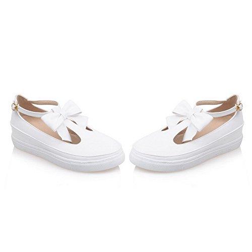 AllhqFashion Femme Pu Cuir Couleur Unie Boucle Rond à Talon Bas Chaussures Légeres Blanc