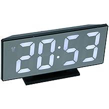 perfeclan Despertador Electrónico Digital Sobremesa Reloj de Esoejo LED con Cable de Proyección USB Adornos para