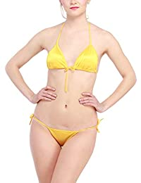 308c78fffd035 Glus Satin Women s Halter Bikini Honeymoon Bridal Beach Wear Lingerie Set