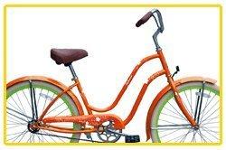 Steel Frame, Micargi Sakura 1-speed (Orange/green) Women's 26 Beach Cruiser Bike by Micargi