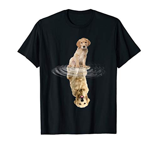 golden retriever Reflection T-Shirt Funny Father's Day Dog -