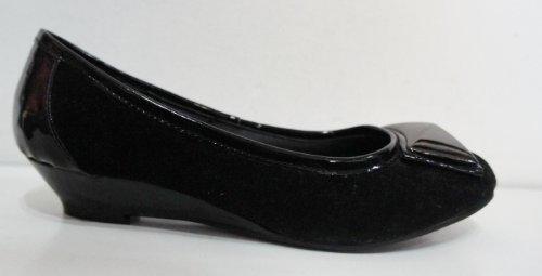 Jet Noir Aspect Daim et brevets Wedge Cour Chaussures–Taille UK 4[Apparel] Noir