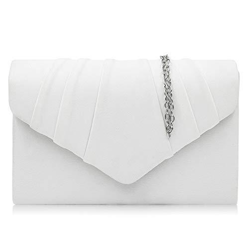 LLUFFY-Clutch Damen Clutch, Abendtasche, Flanell Satin Plissee Brautbeutel, geeignet für Party, Tanz, Hochzeit, Party, 22 *   14 * 5,5 cm, weiß -