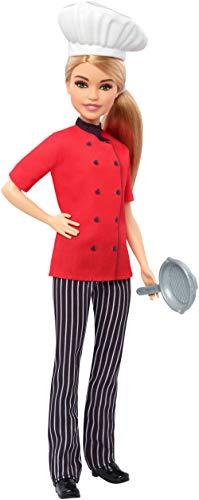 Barbie- carriere chef con padella bambola cappello da cuoco e capelli biondi, giocattolo per bambini 3+ anni, fxn99