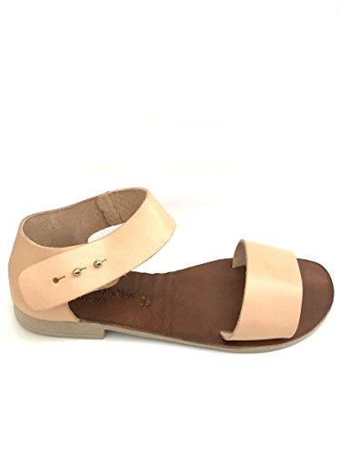Sandali fibbia FIUME in pelle nero naturale tacco basso MainApps Beige