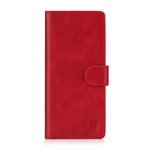 32nd Essential Series - PU Leder Mappen Hülle Flip Case Cover für Samsung Galaxy S10 Plus, Ledertasche hüllen mit Standfunktion, Magnetverschluss und Kartensteckplatz - Rot Serie Ledertasche