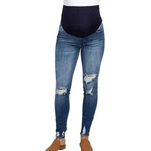 RISTHY Premamá Invierno Vaquros Rotos Leggins Abrigos Embarazo Maternidad Pantalones Pitillo Jeans sobre Los Pantalones Elásticos Verano para Mujer