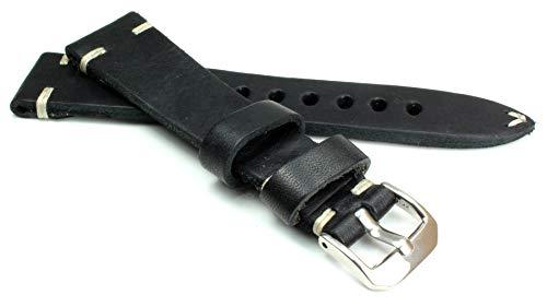20 mm 20mm / 16mm RIOS1931 kräftiges Rindsleder Military Style Armband Retro Look Quality Strap Schwarz Militär Marine Flieger Band Top Qualität