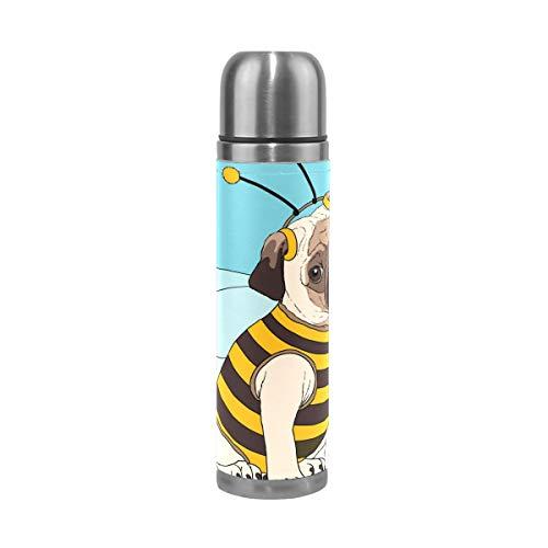 MUMIMI lustiger Mops-Kostüm, Bienenen-Druck, Vakuum-isoliert, Edelstahl, 413