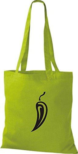 T-shirt In Cotone Tinta Unita Borsa In Cotone Le Tue Preferite Frutta E Verdura Peperoncino Colore Kiwi Natura