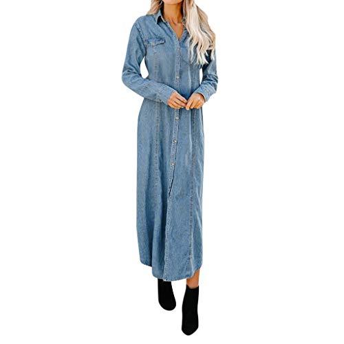 HCFKJ Robe De Soiree, Femmes Bouton Bas Denim Sexy Ladies Ceinture Jeans Longues Tops Shirt Maxi Dress