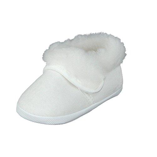 Taufschuhe Babyschuhe Lauflernschuhe Kinderschuhe, Festliche Baby Schuhe, Velours, Gefüttert, Weiß, 18 EU
