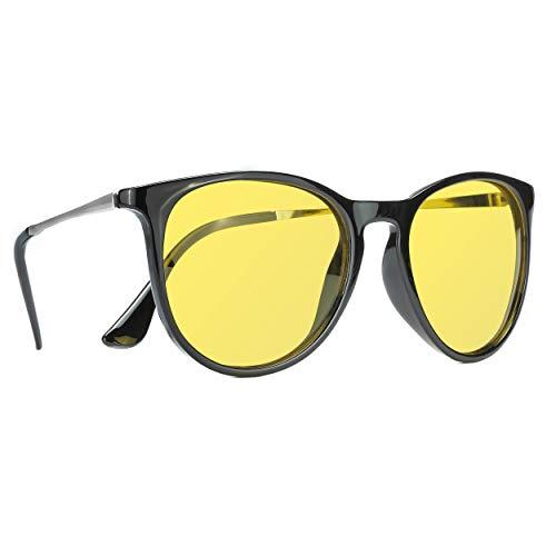 TJUTR Polarisierte Nachtfahrtbrille für Autofahren Damen und Herren HD Gelbe Nacht Vision Blendschutz Brille - UV400 (Schwarz/Gelb)