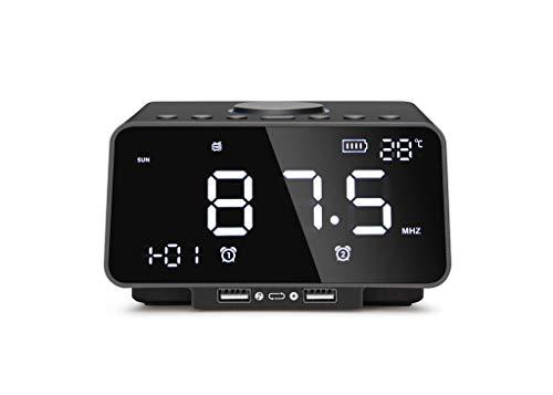 Hahap Digitaler Wecker mit kabellosem Bluetooth-Lautsprecher für Schlafzimmer, Büro, MP3, FM-Radio, Micro SD, Stereo-Sound und satten Bass (Alarm Clock Radio Für Teenager-mädchen)