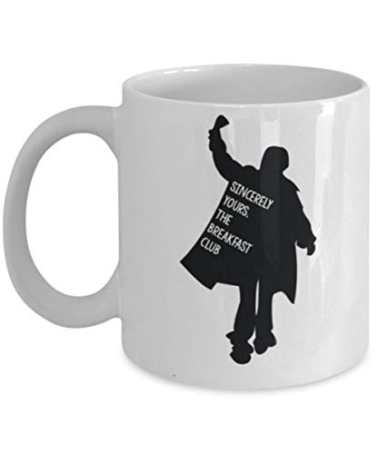 Sincerely Yours, The Breakfast Club Coffee Mug Cup (White) 11oz Funny The Breakfast Club Movie Gift Merch Accessories Paraphernalia Fan Gear White Breakfast Cup