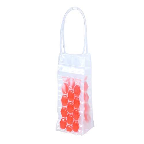 BESTONZON 750 ML PVC Champagne Vin Pouch Cooler Bag Ice Sac fourre-Tout en Gel Transparent de Protection de Transport avec poignée (Rosy)