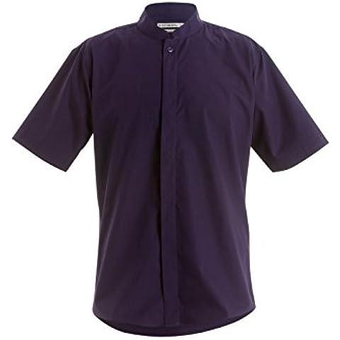 Men's Mandarin Collar Fitted Short Sleeved Shirt by Kustom Kit