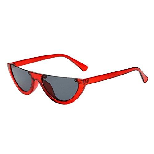 Runde Sonnenbrille für Damen Rosennie Weibliche Klassische Retro Frame Cat Eyes Shades Sonnenbrille Integrierte UV-Brille Sonnenschutz Katzenauge Rahmen Trend Mode Dreieck Sonnebrille runde brille (C)