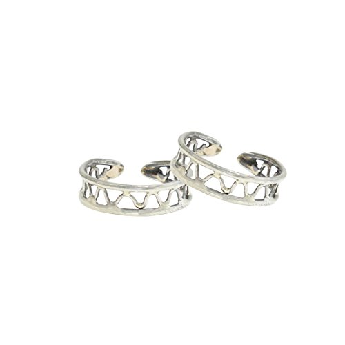 Frabjous Pretty Pair of Silver Adjustable German Silver Toe Ring for Women...