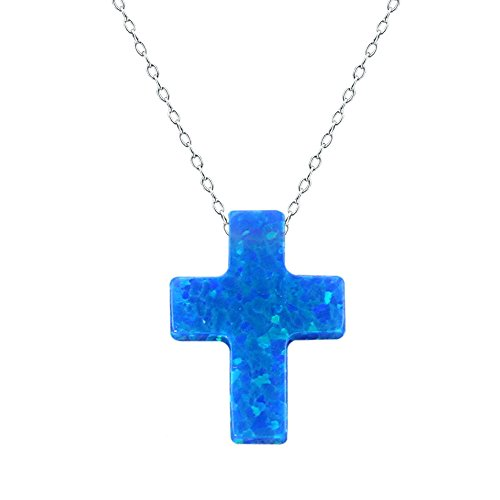 ZeSen Jewelry 2 Opal-Kreuz-Anhänger-Halskette Sterlingsilber-Charme-Kragen-Halskette (2) Blau -