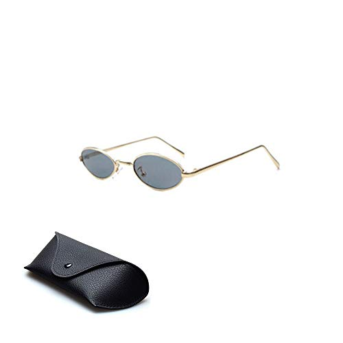 Sprießen kleine ovale Sonnenbrille für Männer Frauen Retro Metallrahmen gelb rot Vintage Sonnenbrille,Vintage-Street-Style-Eyewear mit dünnen Metallrand Männer Frauen Frau Mode Sonnenbrille Gespiegelt