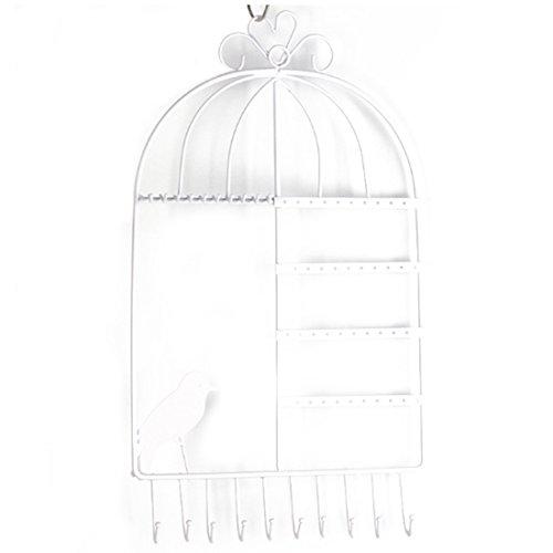 KAILLEET YY6 Wandhalterung Metall Schmuck Organizer Hängende Ohrring Halter Halskette Schmuckständer Birdcage Muster (Farbe : White)