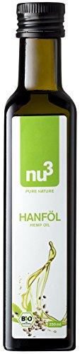 nu3 Premium Bio Hanföl nativ (extra virgin) und schonend kaltgepresst (erste Pressung), 250 ml - Ihre Quelle für essentielle, ungesättigte Omega-3 Fettsäuren