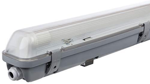 Müller-Licht LED-Feuchtraumleuchte 60 cm für höchsten Lichtkomfort - schönes neutralweißes Licht (4000 K) für optimale Arbeitsbeleuchtung - 1 x 10 W LED-Röhre - IP65 - grau