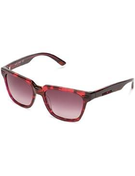 Diesel - Gafas de sol Wayfarer DL0018, Havana Transparent Fuchsia / Gradient Red Wine