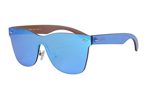 SHINU Blitzspiegel Objektiv Sonnenbrille Horn Rimmed Wayfarers UV400 Schutz Fashional Sonnenbrille Damen Sonnenbrille Brille-SH71001(c2)