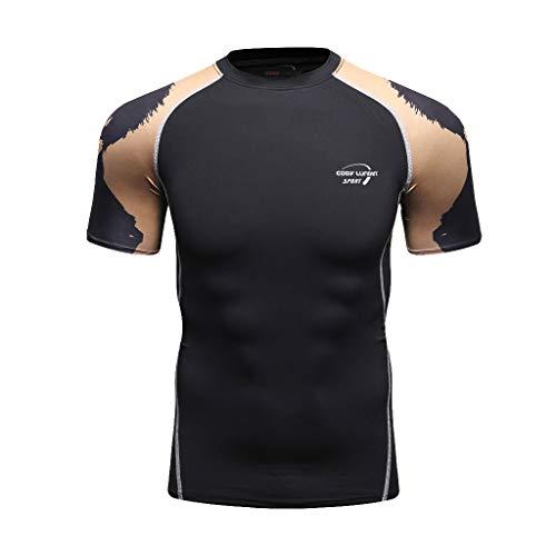 Top Uomo Magro Stretto Compressione Livello Base Manica Corta Maglietta Bodybuilding (XL,6- Grigio)