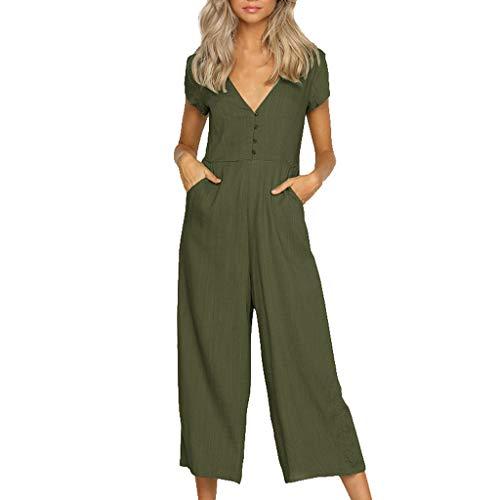 e Mode Elegant Sommer Stretch Baumwolle Leinen Einfarbig Kurzärmeliger Jumpsuit mit V-Ausschnitt Freizeithose Strandhose Sommerhose(M,Grün) ()
