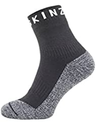 SEALSKINZ Waterproof Soft Touch Ankle Sock with Bamboo Suitable for Walking, Cycling, Hiking, Sailing, Camping-Multi Use Calcetines, Negro, Gris y Blanco, Large, Unisex-Adult