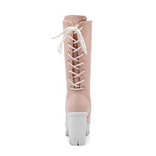 VogueZone009 Damen Rund Zehe Hoher Absatz Blend-Materialien Mittler Kalb Rein Stiefel Pink