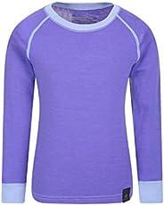 Mountain Warehouse Camiseta térmica Lana Merino para niños con Cuello Redondo - de Mangas largas, cálida, Tran