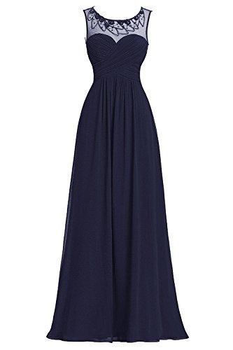 Bbonlinedress Robe de cérémonie Robe de demoiselle d'honneur col rond sans manches longueur ras du sol Marine