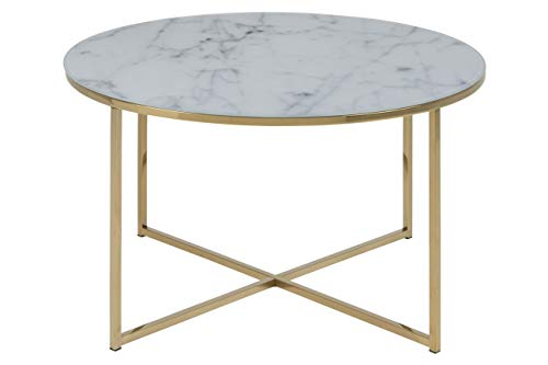 Couchtisch Antje, B: 80 x T:80 x H: 45 cm, Glas, Weiss Gestell Gold ()