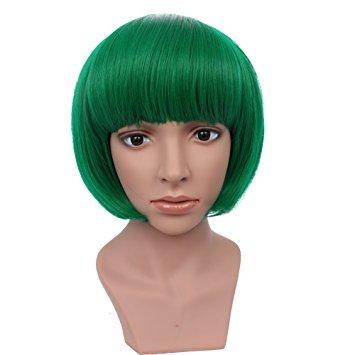 BESTUNG court Bob perruques droites pour les femmes pleine perruque verte naturelle perruques synthétiques Harajuku style cheveux pour Cosplay / Halloween / fête de noël avec Cap perruque gratuit