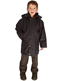 Campbell Cooper Made In England Kids Classic Padded Wax Cotton Jacket Navy Blue Olive Green