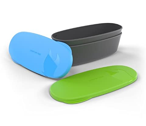 Light My Fire Snap Box Oval Waterproof Food Storage Container (2-Pack), Green/Cyan