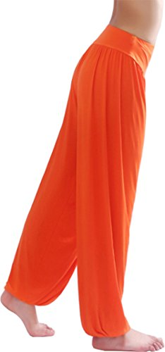 HOEREV Super weiche Modal Spandex Harem Yoga Pilates Hosen, Gr.-Small,Orange